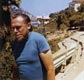 Photo of Charles Bukowski on a trip to Catalina island with Liza Williams, 1972