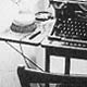 Photo of Charles Bukowski's writing desk, 1960s